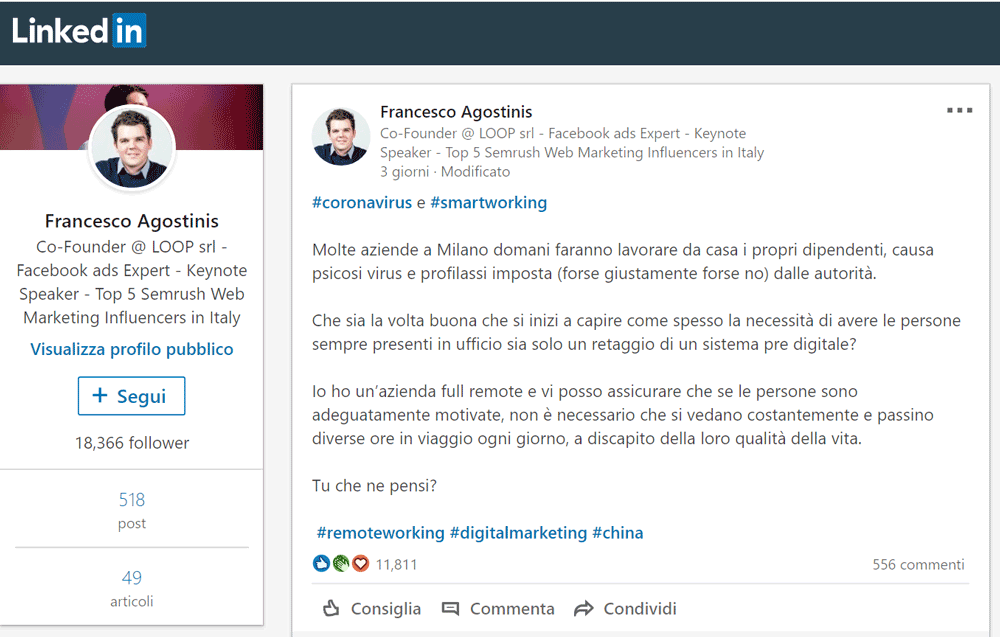 Il post LinkedIn di Francesco Agostinis che, su LinkedIn, ha innescato il dibattito sullo smart working in Italia