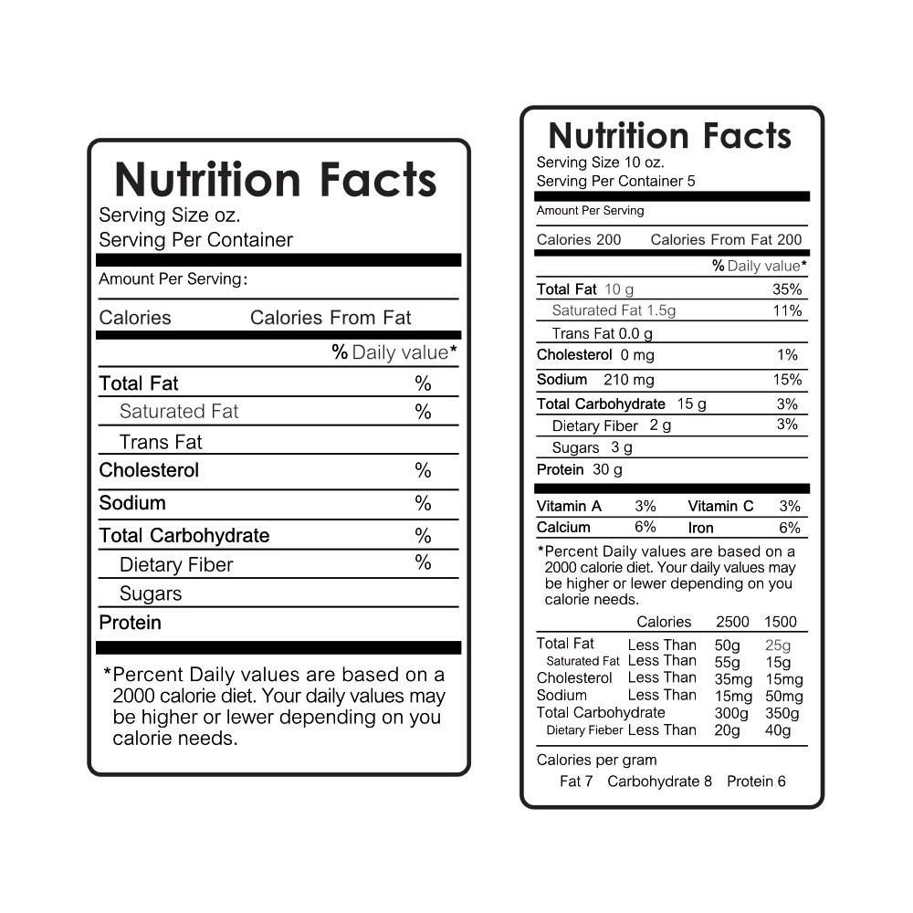 Tabelle nutrizionali per etichettatura alimenti